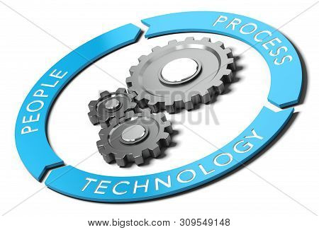 3d Illustration Of A Graphic Chart Of People, Process And Technology.