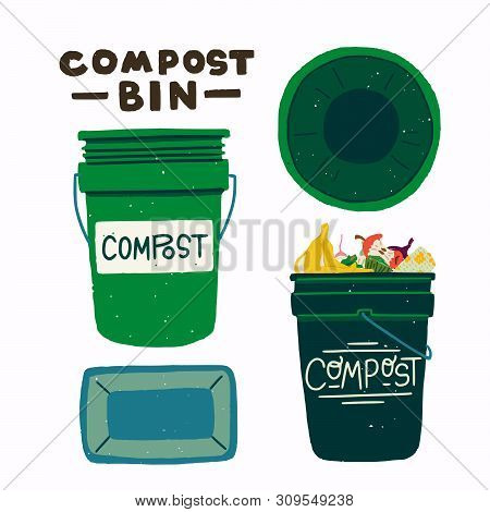 Two Flat Style Round Dumpsters Front And Top View With Lettering Inscription Compost Bin. Empty Tras