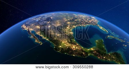 Planet Earth With Detailed Exaggerated Relief At Night Lit By The Lights Of Cities. Mexico. 3d Rende