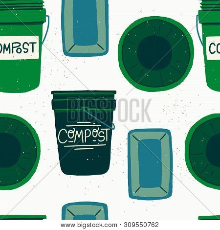Seamless Pattern With Green Cartoon Style Composting Bins. Repeating Texture With Flat Style Contain