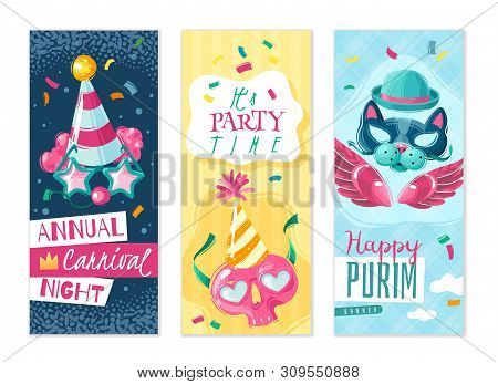 Carnival Things Vertical Banners Set. Set Of Three Vertical Banners On The Carnival Theme With Shado