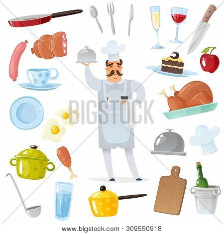 Cartoon Chef Accessories Set. Chef Surrounded By Kitchen And Restaurant Accessories For Cooking Isol