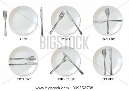 Realistic Plates Tableware Restaurant Etiquette. A Set Of Realistic Plates And Cutlery In The Form O