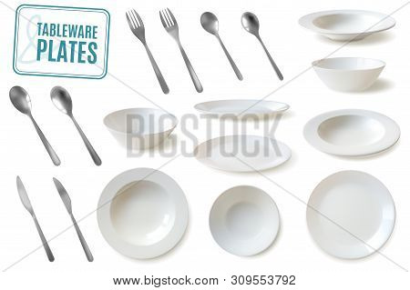 Realistic Plates And Tableware Set. Large Set Of Tableware And Silverware In Realistic Style Lassic