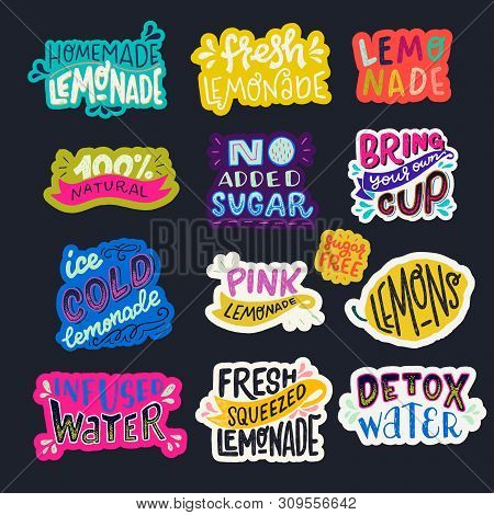 Set Of Colorful Lettering Phrases About Refreshing Beverages On Dark Background. Bright Hand Drawn I