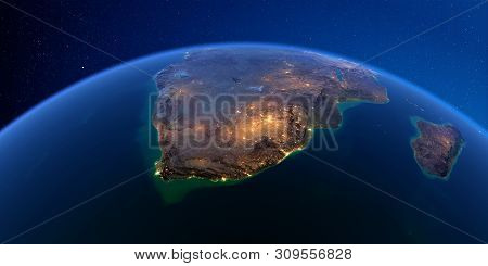 Planet Earth With Detailed Exaggerated Relief At Night Lit By The Lights Of Cities. South Africa. 3d