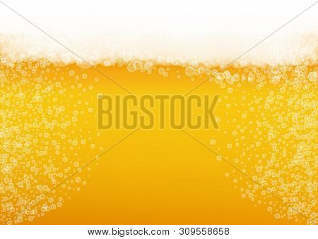 Oktoberfest Background. Beer Foam. Craft Lager Splash. Bar Banner Concept. Hipster Pint Of Ale With