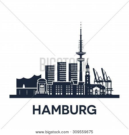 Hamburg City Skyline, Germany, Detailed Version, Solid Color