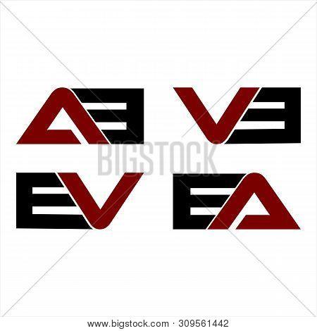 Creative Letter Ab,vb,ev,ea Logo Design Black And Red Logo Elements. Simple Letter Ab,vb,ev,ea Lette