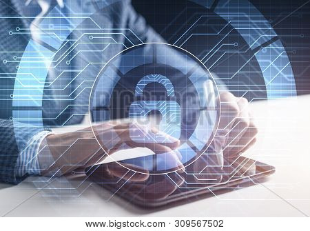 Digital Cybersecurity Concept Of Neutralizing Cyber Threats On Internet. Firewall And Antivirus Soft