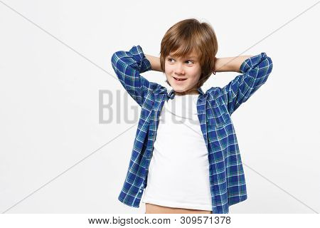 Fun Little Kid Boy In Blue T-shirt Putting Hands Behind Head Relax Rest Isolated On White Wall Backg