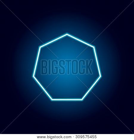 Heptagon Icon In Neon Style. Geometric Figure Element For Mobile Concept And Web Apps. Thin Line Ico