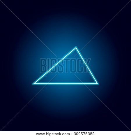 Acute Triangle Icon In Neon Style. Geometric Figure Element For Mobile Concept And Web Apps. Thin Li