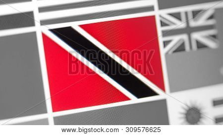 Trinidad And Tobago National Flag Of Country. Flag On The Display, A Digital Moire Effect. News Of G