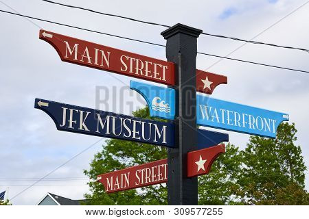 Colorful Red And Blue Street Sign In Hyannis, Massachusetts With Directions To Main Street, Waterfro