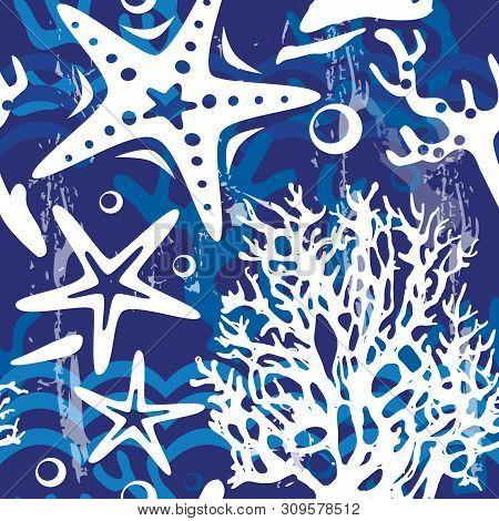 Seamless Pattern With Decorative Shells Corals Seastars
