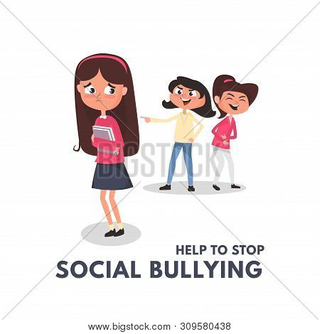 Stop Social Bullying Concepts With Bad Girls Bullying Another Girl. Kids Bullying At School Concept.