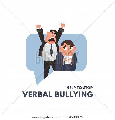 Verbal Bullying Between A Boss And Office Worker. Workplace Harassment Illustration In Cartoon Style