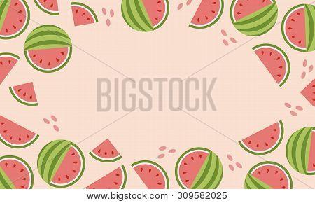 Hot Summer Sale Banner With Watermelon. Flyer, Banner.