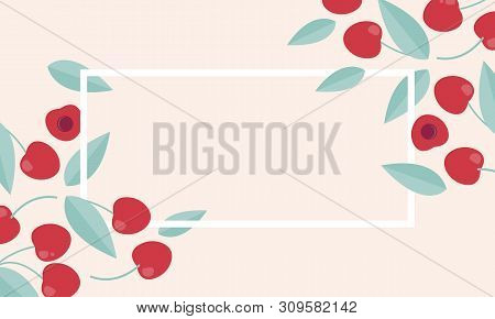 Season Sale Vector Label With Cherry. Travel Vacation Concept. Nature Fashion Concept.