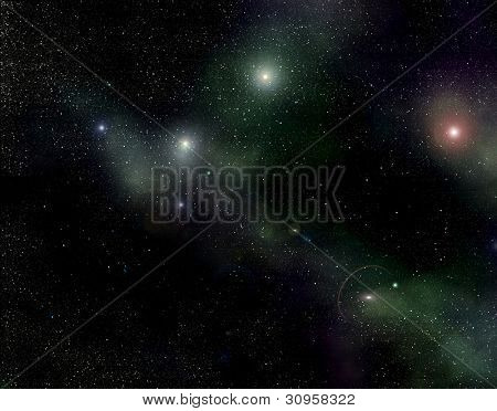 Galaxy starry background of stars and nebulas in deep outer space