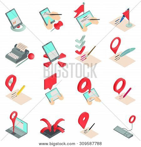 Record Book Icons Set. Isometric Set Of 16 Record Book Vector Icons For Web Isolated On White Backgr