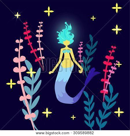 Print Mermaid. Cartoon Character Siren. Girl With Blue Luminous Hair And A Tail. Underwater World. R