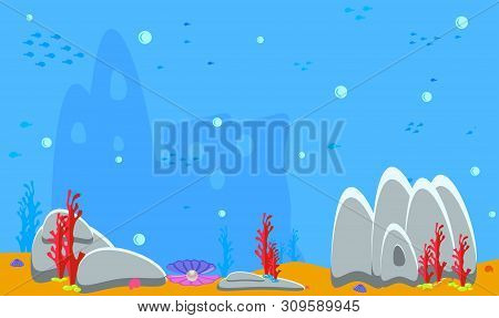 Baby Shark Background. Blue Underwater Landscape With Fishes, Coral Reefs, Huge Rocks And See Weeds.