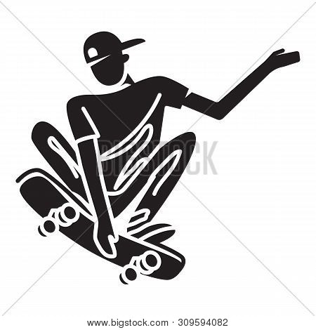 Skater Trick Hello Icon. Simple Illustration Of Skater Trick Hello Vector Icon For Web Design Isolat