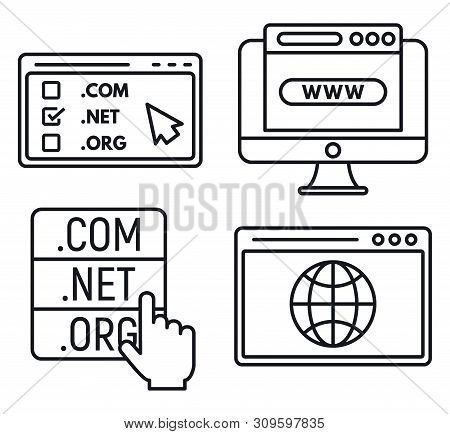 Web Domain Icons Set. Outline Set Of Web Domain Vector Icons For Web Design Isolated On White Backgr