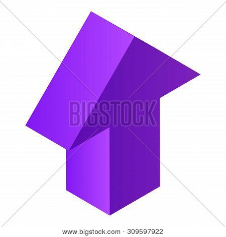 Violet Arrow Icon. Isometric Of Violet Arrow Vector Icon For Web Design Isolated On White Background