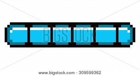 Isolated blue pixel videogame bar on a white background - Vector poster