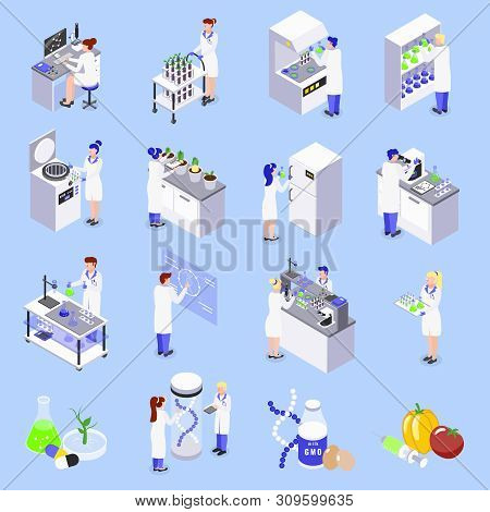 Bio Engineering Gmo Technology Isometric Icons Set With Laboratory Genetically Altered Dna Plants Fo