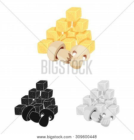 Vector Illustration Of Croutons And Mushroom Logo. Collection Of Croutons And Snack Stock Vector Ill