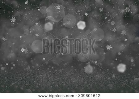 Wonderful Bright Abstract Background Glitter Lights And Falling Snow Flakes Fly Defocused Bokeh - Fe