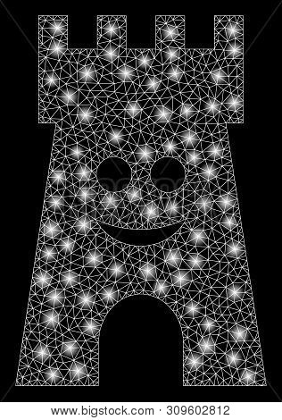 Glowing Mesh Happy Fort Tower With Lightspot Effect. Abstract Illuminated Model Of Happy Fort Tower