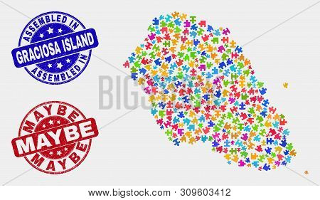Module Graciosa Island Map And Blue Assembled Seal Stamp, And Maybe Distress Stamp. Colorful Vector