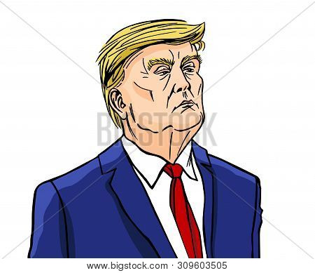 Moscow, Russia - 29 10 2019: President Of The United States Donald Trump, Colored Illustration, Cari
