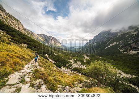 Rocky Mountain Hiking Trail In Mengusovska Valley, High Tatras, Slovakia
