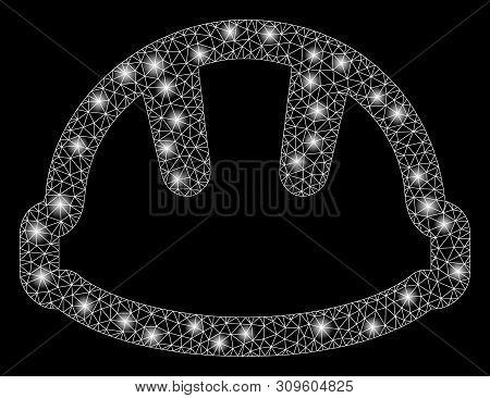 Flare Mesh Hardhat With Glare Effect. Abstract Illuminated Model Of Hardhat Icon. Shiny Wire Carcass