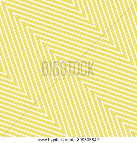 Zigzag Seamless Pattern. Vector Texture With Thin Diagonal Zig Zag Lines, Stripes, Chevron. Yellow A