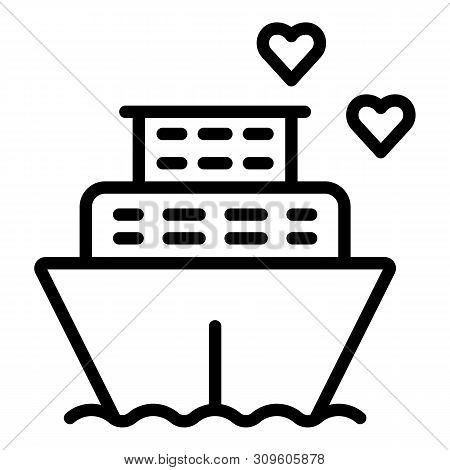Honeymoon Ship Cruiser Icon. Outline Honeymoon Ship Cruiser Vector Icon For Web Design Isolated On W