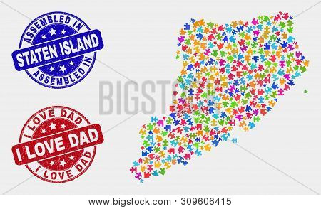 Constructor Staten Island Map And Blue Assembled Seal Stamp, And I Love Dad Grunge Seal Stamp. Color