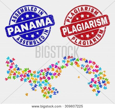 Element Panama Map And Blue Assembled Seal Stamp, And Plagiarism Scratched Seal Stamp. Colorful Vect