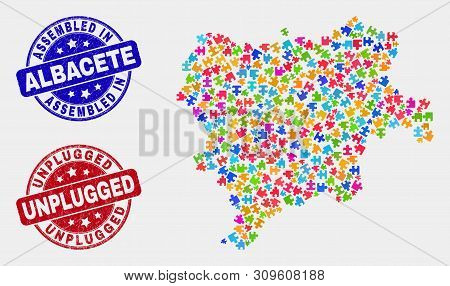 Element Albacete Province Map And Blue Assembled Seal, And Unplugged Distress Seal Stamp. Colorful V