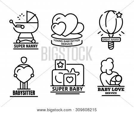 Modern Babysitter Logo Set. Outline Set Of Modern Babysitter Vector Logo For Web Design Isolated On