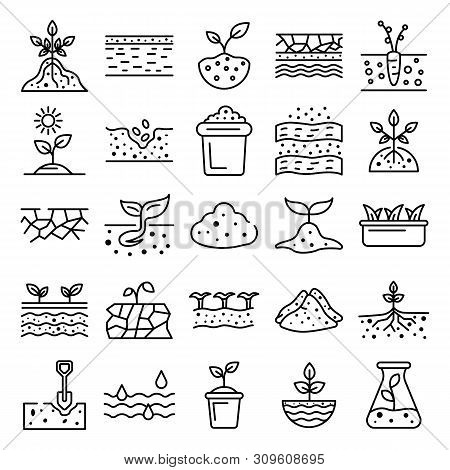 Soil Ground Icons Set. Outline Set Of Soil Ground Vector Icons For Web Design Isolated On White Back