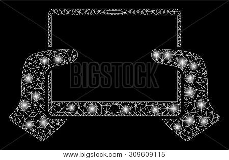 Glowing Mesh Hands Hold Pda With Glare Effect. Abstract Illuminated Model Of Hands Hold Pda Icon. Sh