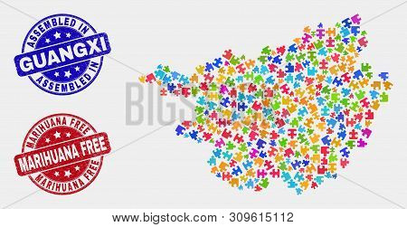 Bundle Guangxi Province Map And Blue Assembled Seal Stamp, And Marihuana Free Distress Seal. Colored