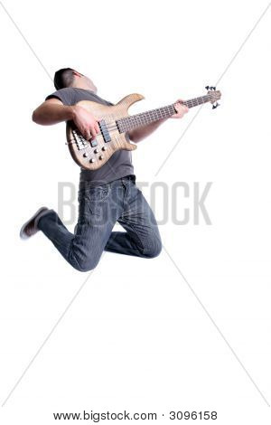 Young Bass Player Jumping